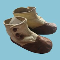 Leather Two Toned Button Baby Shoes in Cream and Warm Toast Colors