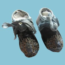 Intricate Handmade Leather Doll or Baby Shoes with Silk Adornment
