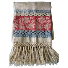 Antique Fringed Show Towel with Rich Red and Blue Accents