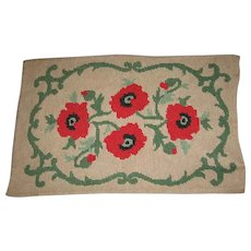 Vintage Hand Hooked Rug with Poppies