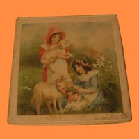 Victorian Lithographed Childs Hankie Box with Hankie
