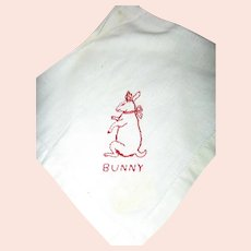 Antique Turkey Red Hankie with Redwork Bunny