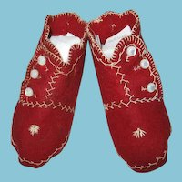 Handmade Red Felt Baby Boots with Contrasting Stitching for Doll or Bear