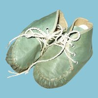 Vintage Blue Leather Baby or Doll Booties