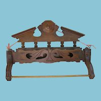 Victorian Wooden Towel Rack with Comb Box