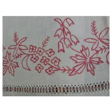 Antique Hand Embroidered Turkey Red Sideboard Linen with Redwork Flowers