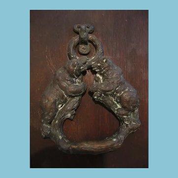 Antique Bronze Door Knocker with Bear Motif