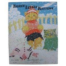 Rare 1935 Fern Bisel Peat Illustrated Three Little Kittens Cloth Book