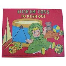5 STICK'EM Push Out Books for Kids 1949 & 1950