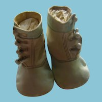 Antique Blue and White Leather Button Baby Shoes
