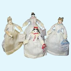 Rare Set of Four Moravian Benigna Dolls 1930s
