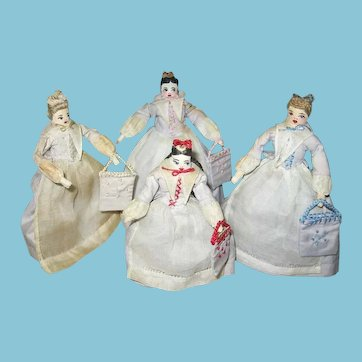 Rare Set of Four Moravian Benigna Dolls 1930s