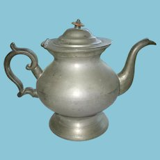 Antique Pewter Inverted Teapot by Daniel Curtiss of Albany NY 1822-1840