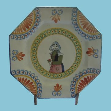 Unusual Octagonal Henriot Quimper Plate with Breton Lady