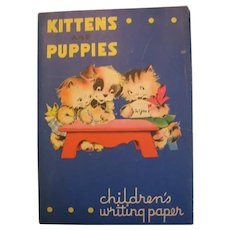 Vintage Packet of Children's Kittens and Puppies Writing Paper