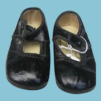 Early 1900s Leather Baby Shoes with Button Strap