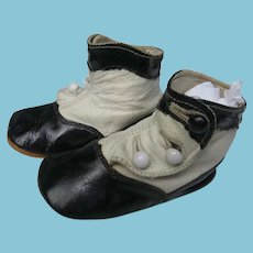 Two Toned Leather Baby Shoes with Gangster Styling