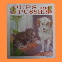 Vintage Pups and Pussies Linenette Book by Sam'l Gabriel & Sons Co