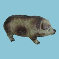 Early 1900s Cast Iron Piggy Bank with Good Paint