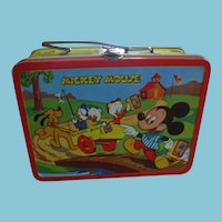 Rare Mickey Mouse and Donald Duck 1954 Tin Lithographed Lunch Box