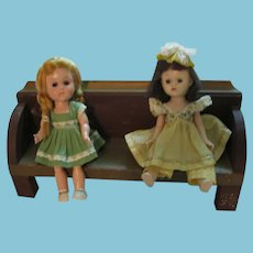 Handmade Wooden Doll Bench Very Old