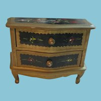 Hand Painted Vintage Jewelry Box or Doll Chest of Drawers Furniture