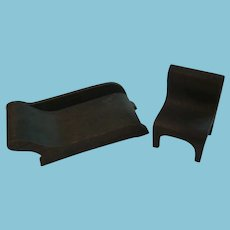 Vintage Mission Style Wooden Doll Furniture Lounge and Chair