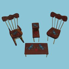 MIniature Pa Dutch Painted Furniture Tables and Chairs