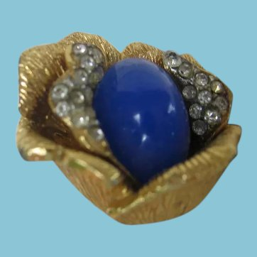 Vendome 1963 Blooming Flower Cocktail Ring with Blue Cabochon Center