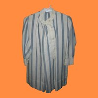 Antique Blue and White Striped Dress for Boy or Girl