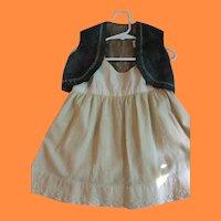 Antique Baby or Doll Blue Velvet Vest and Wool Flannel Slip