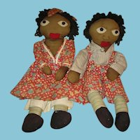 Rare Little Black Sambo & Miranda Handmade Black Rag Dolls from the 1940s