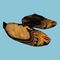 3 Pair Bulgarian Folk Costume Slipper Shoes with Handwork