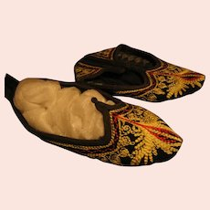 3 Pair Bulgarian Folk Costume Slipper Shoes with Handwork