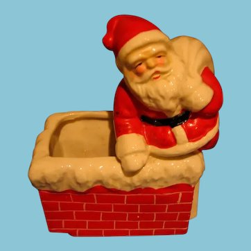 Vintage Santa at Chimney Holiday Candy Container