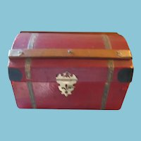Old Red Domed Top Miniature Doll Chest or Trunk