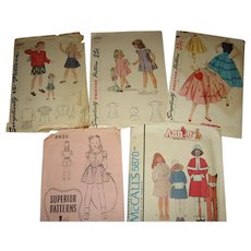 5 Vintage Sewing Patterns for  Little Girls and Teen