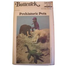 Vintage Sewing Patterns for Prehistoric Pets and 2 Transfer Patterns