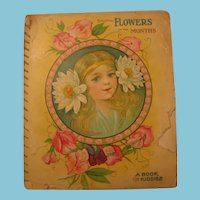 Antique Childs Book Beautiful Flowers for the Months Frame It