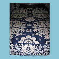Antique Blue Rose Winter or Summer Jacquard Coverlet 1800s