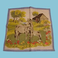 3 Childrens Vintage Hankies for Farm Kids with Horses and Cows Great Stocking Stuffers