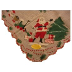 Vintage Christmas Santa Hankie with All the Trimmings