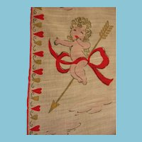 Vintage Valentines Day Hankie with Cupid Coming Your Way