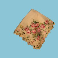 Lovely Ladies Vintage Hankie with Diamond Edging and Tulips Galore