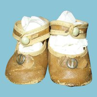Vintage 2 Tone Tan Oilcloth Doll Shoes for Large Antique Doll