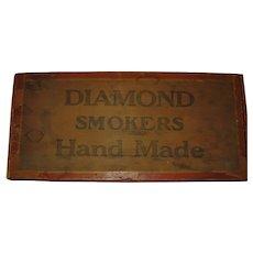 Rare Large Size Diamond Smokers Wooden Cigar Box from Pennsylvania