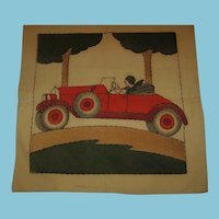 Flapper Lady in Roadster Hand Painted and Stitched Pillow Cover