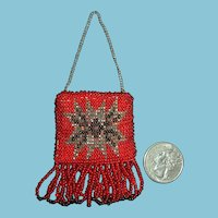 Adorable Doll Size Red Beaded Mini Purse with Steel Beads and Fringe