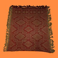 Antique Red and Cream Reversible Woven Crib Coverlet