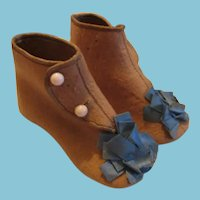 Adorable Antique Tan Wool Baby Shoes with Blue Ribbon Adornments